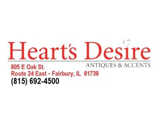 """FAIRBURY, IL – Heart's Desire Antiques & Accents – """"Something Old, Something New, Something Just for You"""" – that's the motto of this unique shopping arrangement and it has proven, by way of customer activity and comments, to be very true. More than 30 sellers use the 3000 square feet..."""