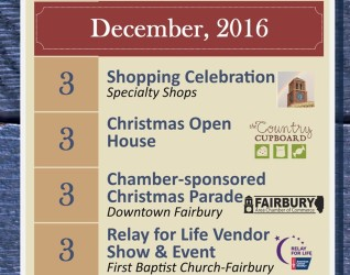 SATURDAY, DECEMBER 3RD– FAIRBURY'S HOLIDAY SEASON LAUNCH EVENTS  There's a lot going on in Fairbury on Saturday, December 3rd, and it's a package deal that has something for everybody.  The center attraction is the Fairbury Christmas Parade which will travel down Fairbury's Main Street (Locust St) starting at...
