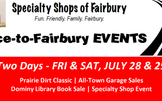 """THE SPECIALTY SHOPS GROUP OF FAIRBURY """"Race to Fairbury"""" – stock car racing is at """"full throttle"""" and so are the Specialty Shops of Fairbury with their """"Race to Fairbury"""" event that comes to us on a supercharged week-end. It's in tandem with the Grand-Daddy race of the year in..."""