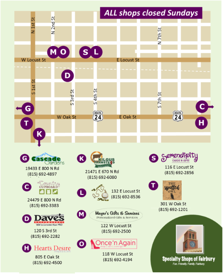 Specialty Shops Map with Logos