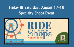 Take a break from the carnival rides at the fair and Ride The shops! The Specialty Shops of Fairbury are offering special discounts and bargains during the Fairbury Fair. On Friday, August 17, to Saturday, August 18, shop for unique gifts, food items, furniture, clothing. Each shop has a tremendous...