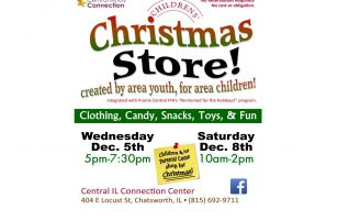 Clothing, candy, cookies, toys and fun can be found at The Children's Christmas Store at the Central Illinois Connection Center in Chatsworth.  Children and parents can shop for holiday gifts on  Saturday, December 8th, from 10am-2pm. The Children's Christmas Store is created by students from PCHS and PCJHS along with...