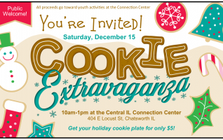 Crunchy, soft, moist, chewy, all delicious!   It's a Cookie Extravaganza at the Central Illinois Connection Center on Saturday, December 15th. From 10am to 1pm stop by the Connection Center for your holiday cookie plate. Choose from shortbread, chocolate chip, oatmeal, cutouts and other fun decorated cookies.  Cookie Extravaganza cookies are...