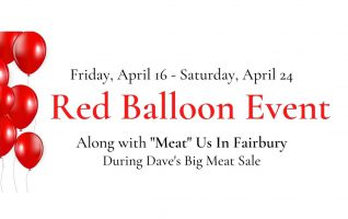 Look out for Red Balloons at Fairbury's Specialty Shops! You will find a paper slip near the read balloons. Fill out a slip at any of the specialty shops and drop it in the box next to the red balloon for a chance to win a local gift card. Limit...